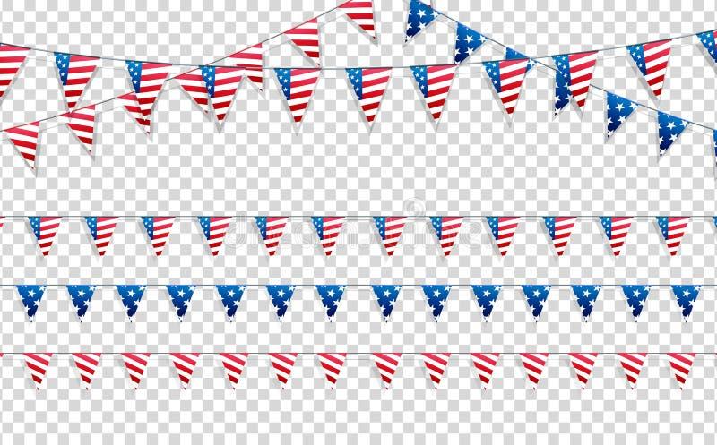 4th juli Garneringuppsättning av girlander för USA nationella ferier, händelser, baner, affischer, rengöringsduk Fjärdedel av den stock illustrationer