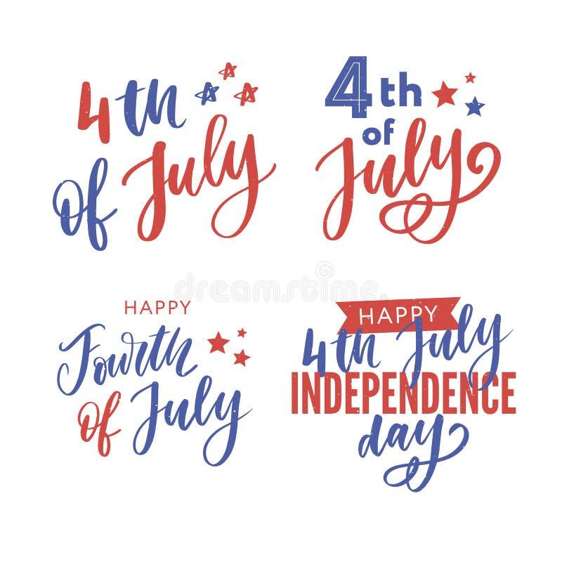 4th juli Lycklig sj?lvst?ndighetsdagenkalligrafi royaltyfri bild