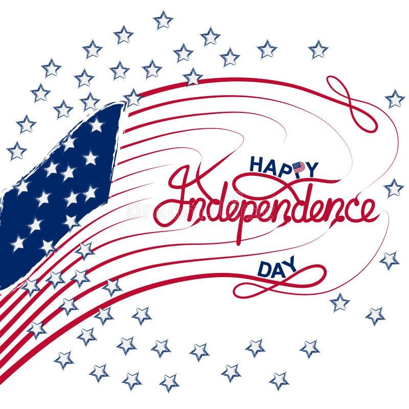 4th Juli med USA flaggan, illustration f?r sj?lvst?ndighetsdagenbanervektor royaltyfri bild