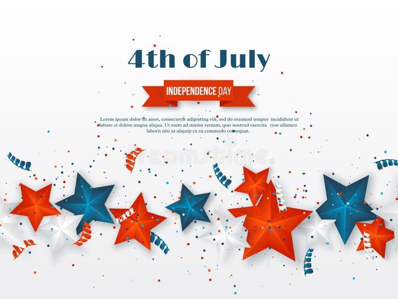 4th Juli - självständighetsdagen av Amerika Amerikansk feriebakgrund stjärnor 3d i medborgare färgar med slingrande och royaltyfri illustrationer