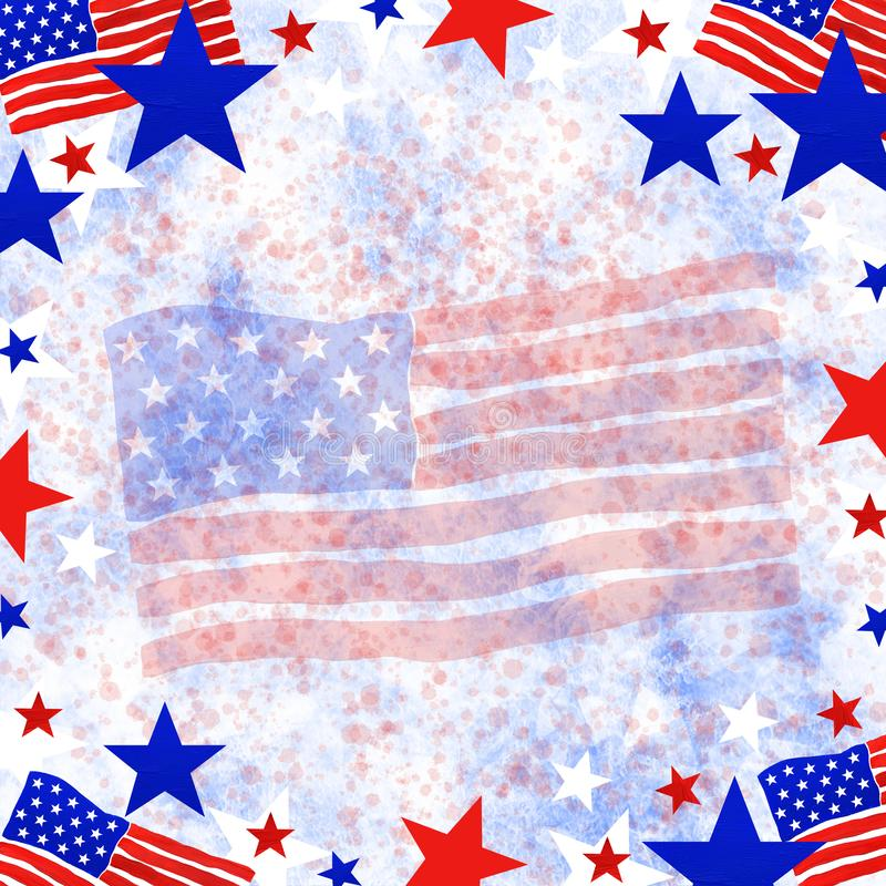 4th of July, American Independence Day. Frame in national flag colors royalty free illustration