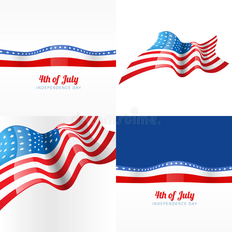 4th july american independence day background. Vector 4th july american independence day background with american flag stock illustration