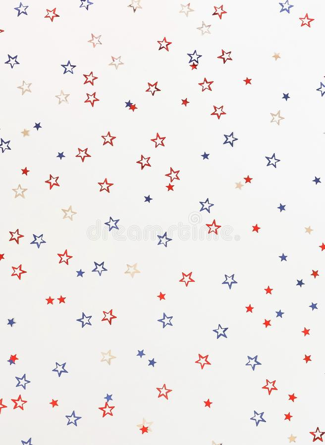 4th of July American Independence Day blue and red stars decorations on white background. royalty free illustration