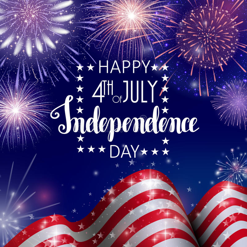 4th of July, American Independence Day celebration background with fire fireworks. Congratulations on Fourth of July. 4th of July, American Independence Day stock illustration