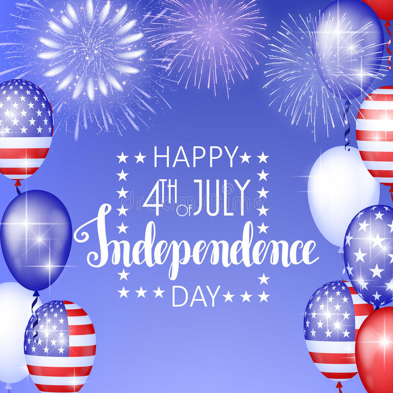 4th of July, American Independence Day celebration background with fire fireworks. Congratulations on Fourth of July. vector illustration