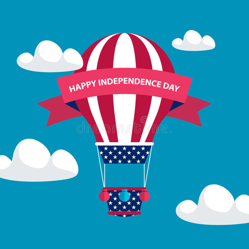 4th of july American independence day greeting card with hot air balloon in american flag colors with red ribbon. royalty free illustration
