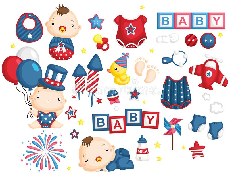 4th July Baby Vector Set. A baby vector set with 4th of July independence day theme vector illustration