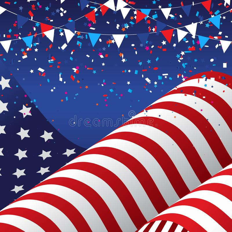 4th july background with american flag royalty free illustration