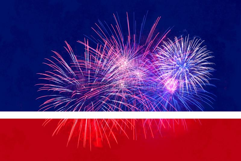 4th of July Background with fireworks add your own text or greeting. 4th of July Background with fireworks and a red, white and blue background add your own text vector illustration