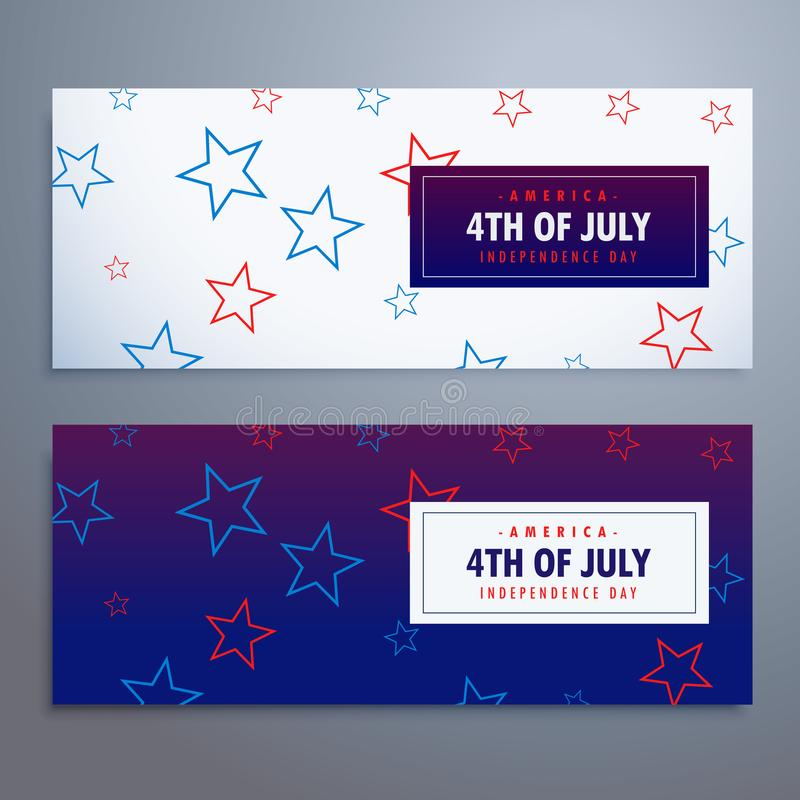 4th of july banners set in white and blue colors. Vector stock illustration