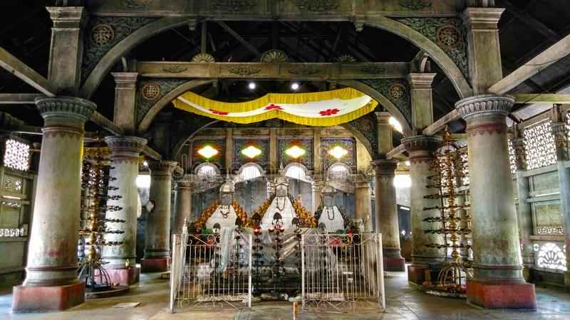 The inside view of Barpeta Satra. 11th July 2018, Barpeta, Assam, India. The inside view of Barpeta Satra. Satra is a religious place of Assamese people stock images