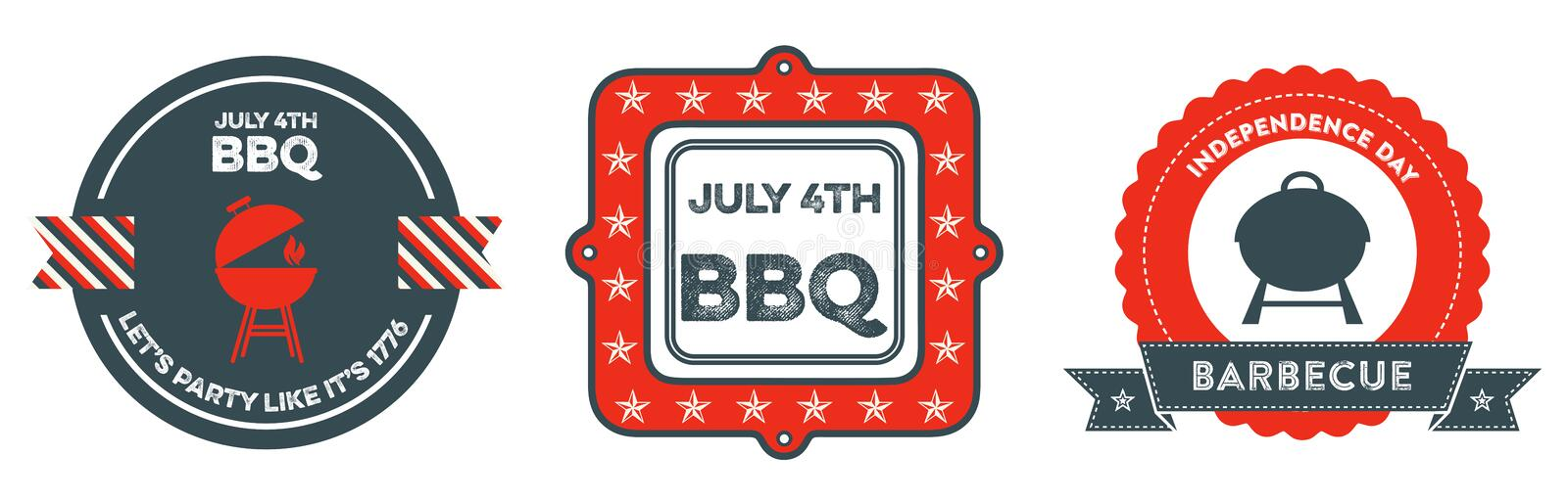 4th of July BBQ badges. USA Patriotic Independence Day badges with vintage style. They read July 4th BBQ - Let's party like it's 1776 and Independence Day royalty free illustration