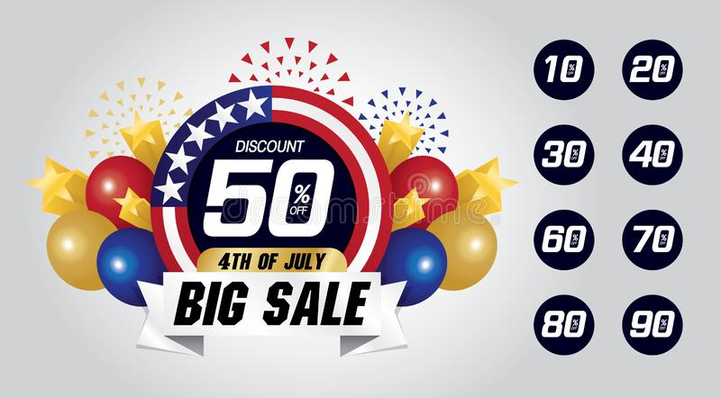 4th of July big sale graphic resource. For business advertising media royalty free illustration