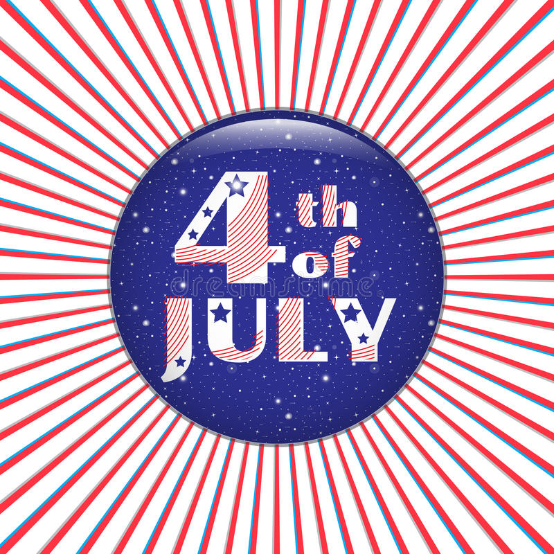 4th of July. Blue badge on a red radial background. stock illustration