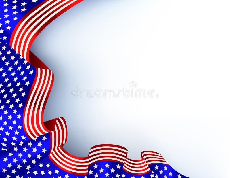 4th of july blue flag background vector illustration