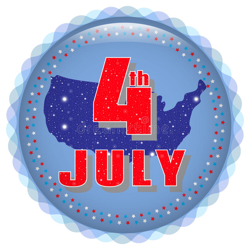 4th of July. Bright icon. Greeting card with a holiday Independence Day, July 4th stock illustration