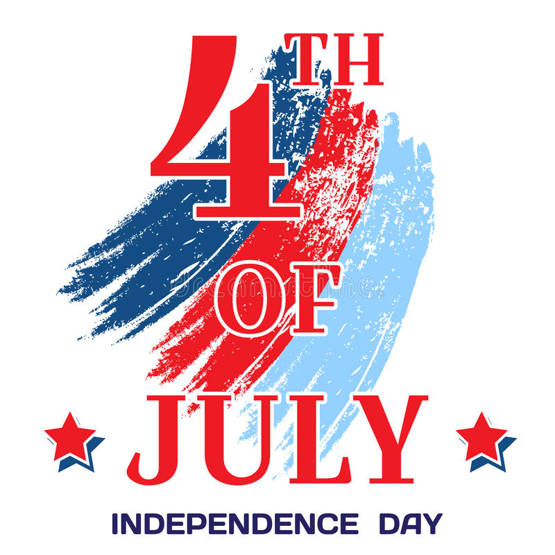 4th of July. Bright inscription July 4th on a white background with brushstrokes filled with stars. Independence Day, July 4th stock illustration