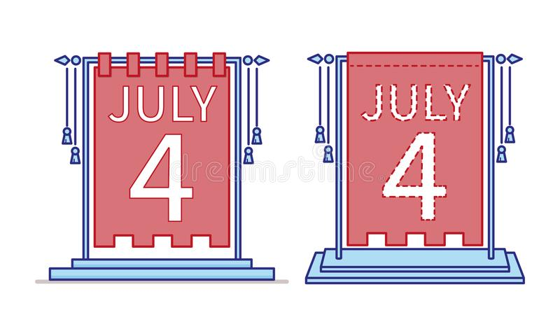 4th of July calendar day icon, desktop statuette. US Independence Day. Vector stock illustration