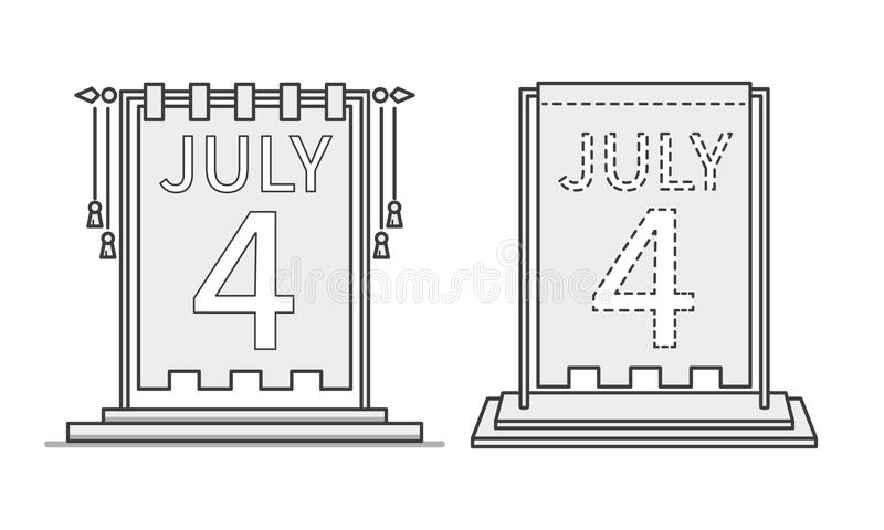 4th of July calendar day icon, desktop statuette. US Independence Day. Vector vector illustration