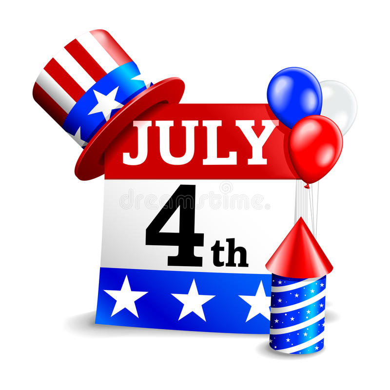 4th of July Calendar Icon. A brightly colored calendar celebrating the fourth of July royalty free illustration