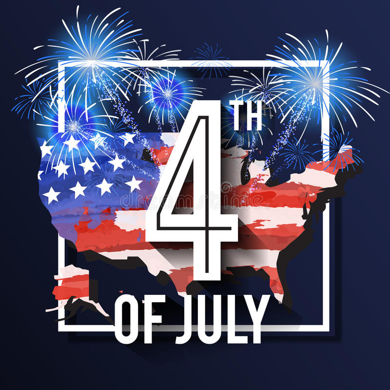 4TH of July Celebration Background Design. With USA Map and Fireworks. American Independence Day Square Banner. Vector illustration royalty free illustration