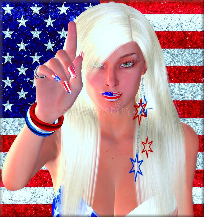 4th of July Celebration. There is only one United States of America! An American flag background is perfect for this blonde girl with red, white and blue royalty free illustration