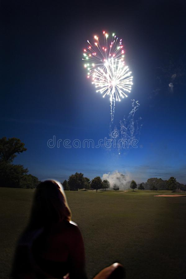 4th of July celebrations on Oak Tree country club golf course. Fireworks celebrations on the golf course of Oak Tree country club.  4th of July fireworks stock photo
