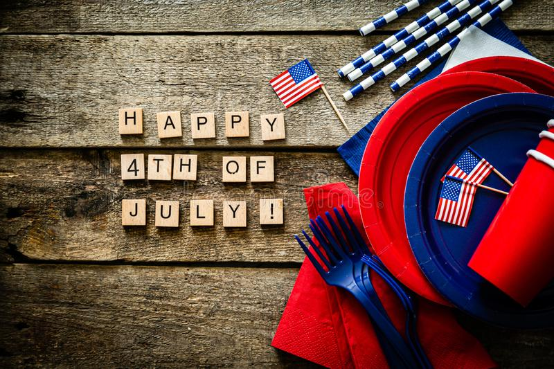 4th of July concept - party decoration of wood background royalty free stock photography