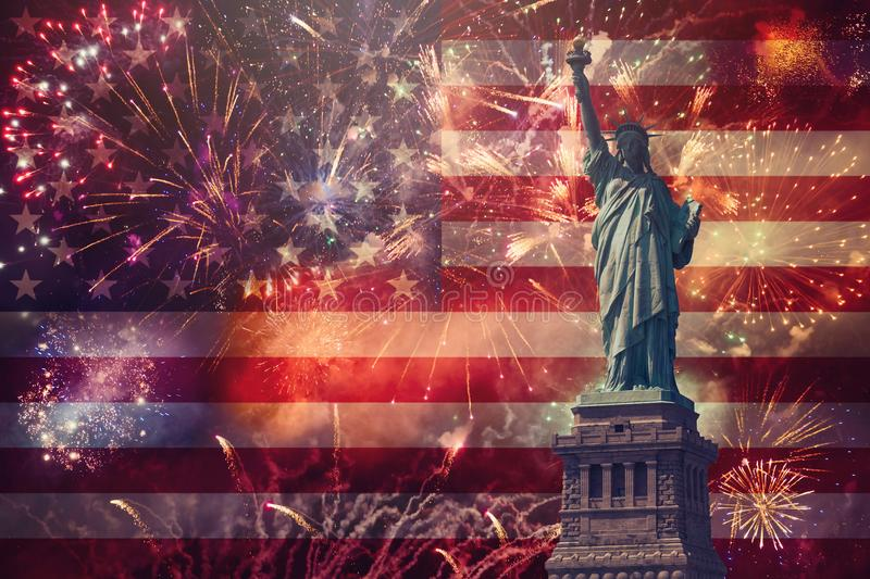4th of July concept. With Statue of Liberty and fireworks stock images
