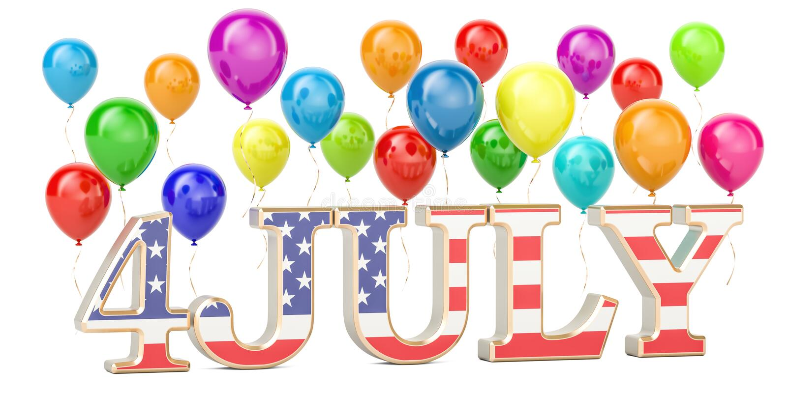 4th of July concept. USA patriotic balloons and inscription 4 July, 3D rendering. Isolated on white background vector illustration