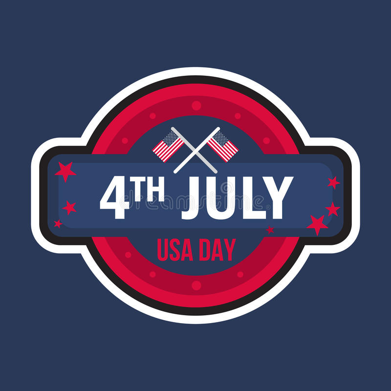4th July Day. 4th July USA Independence Day Celebration Banner. National American Greeting. Vector royalty free illustration