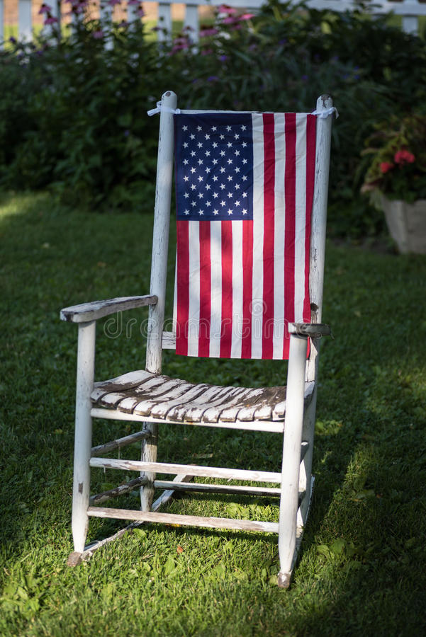 4th of July decorations in backyard stock image
