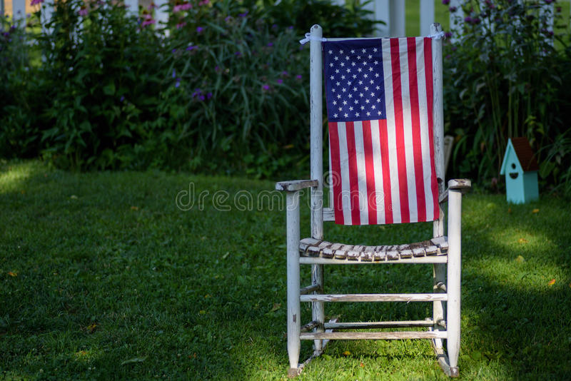 4th of July decorations in backyard stock photo
