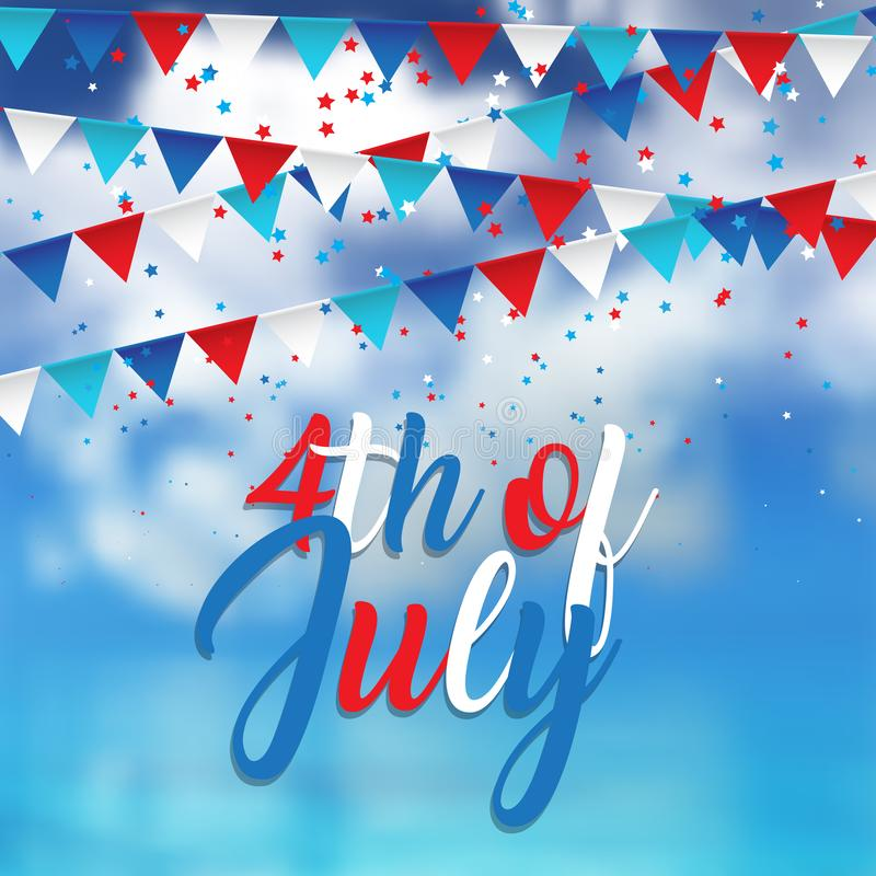 4th july design with confetti and pennants on blue sky background royalty free illustration