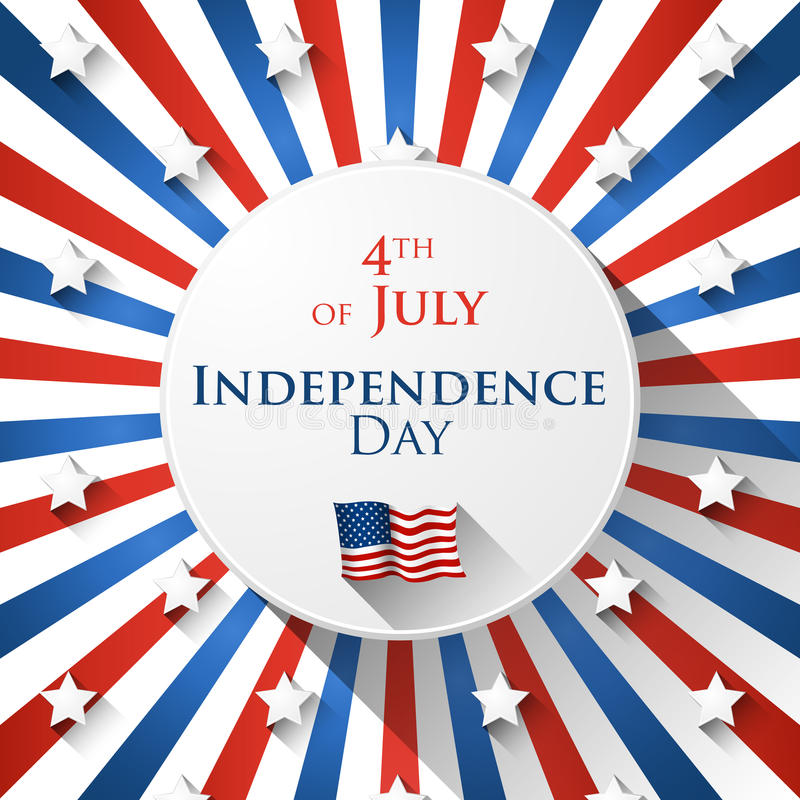 4th of July design. 4th of July greetin card with star background in flat design royalty free illustration