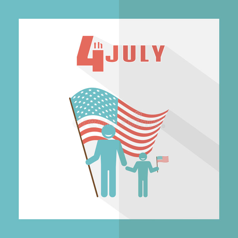4th of July. Father with baby on a background of the American flag. stock illustration