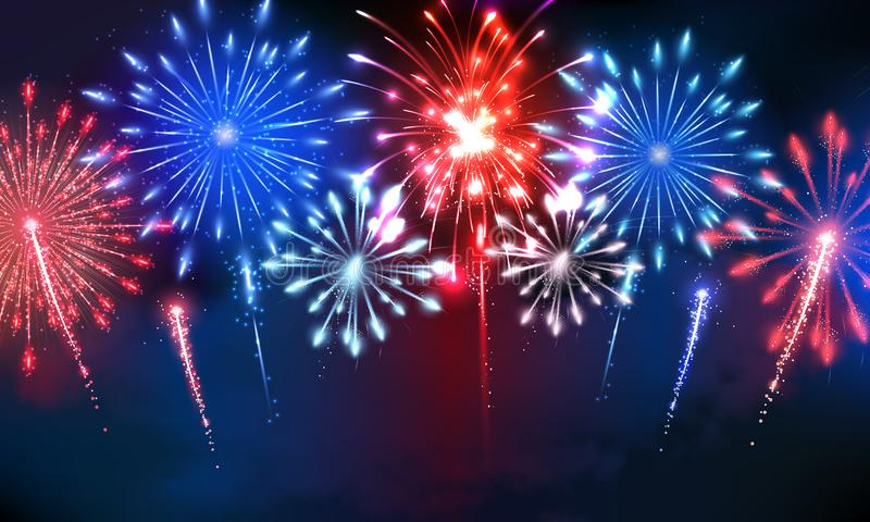4th of july firework with us colors. Nice firework scene in the night with different bursts exploding in the colors of the united states of america. This vector illustration