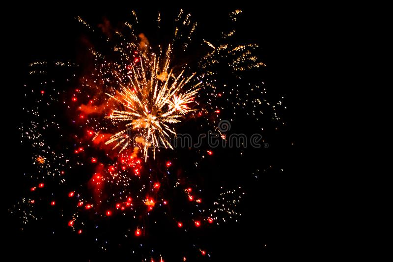 4th of July firework display in Grand Rapids Michigan. At night royalty free stock image