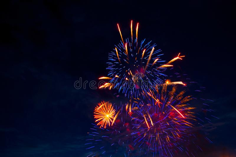 4th July fireworks. Fireworks display on dark sky background stock photography