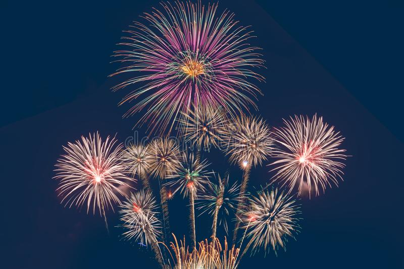 4th July fireworks. Fireworks display on dark sky background. stock image