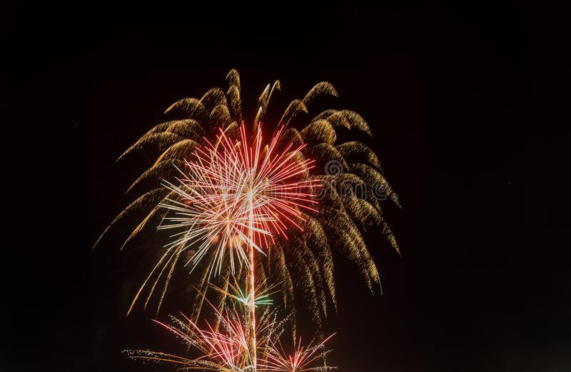 4th July fireworks. Fireworks display on dark sky background stock images