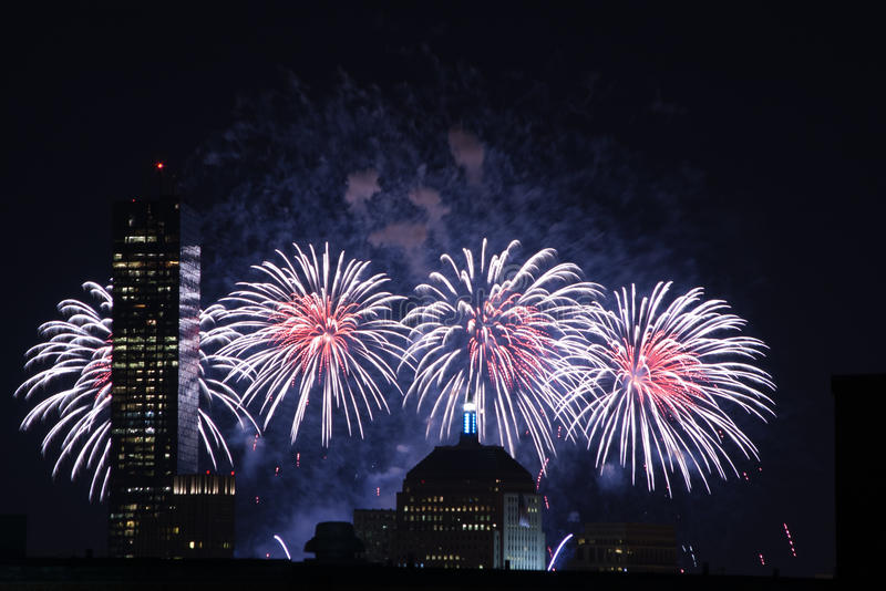 4th of July Fireworks. Fireworks go off over the city of Boston for the 4th of July royalty free stock image