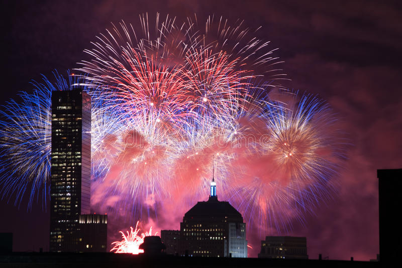 4th of July Fireworks. Fireworks go off over the city of Boston for the 4th of July stock photos