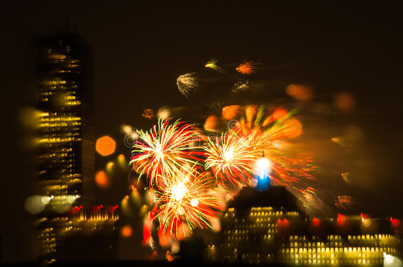 4th of July Fireworks. Fireworks go off over the city of Boston for the 4th of July stock photography