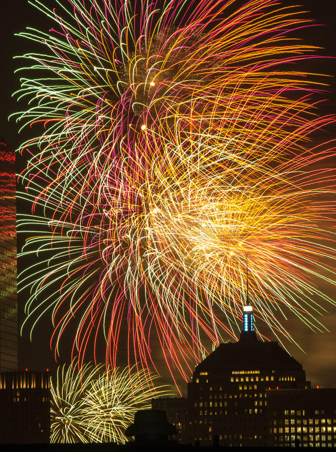 4th of July Fireworks. Fireworks go off over the city of Boston for the 4th of July stock photo