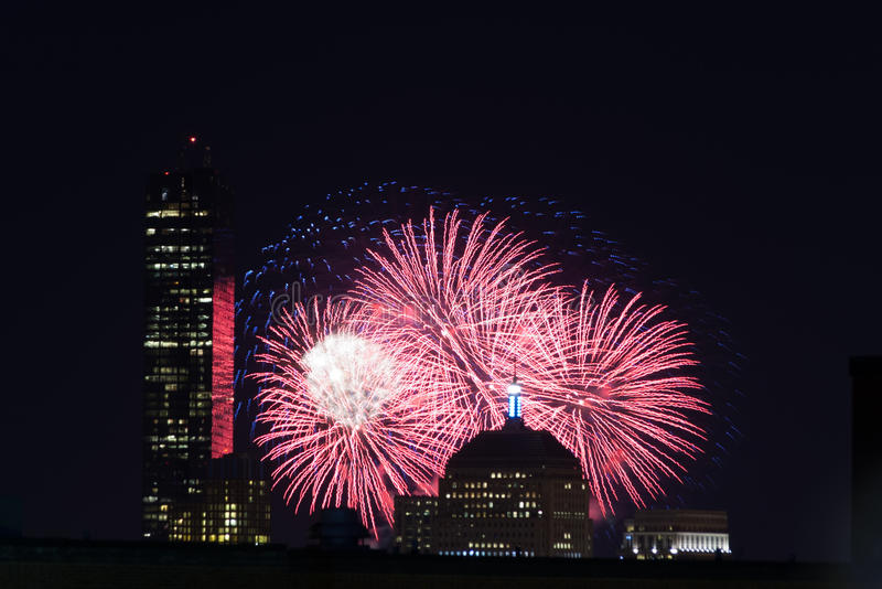 4th of July Fireworks. Fireworks go off over the city of Boston for the 4th of July royalty free stock photography