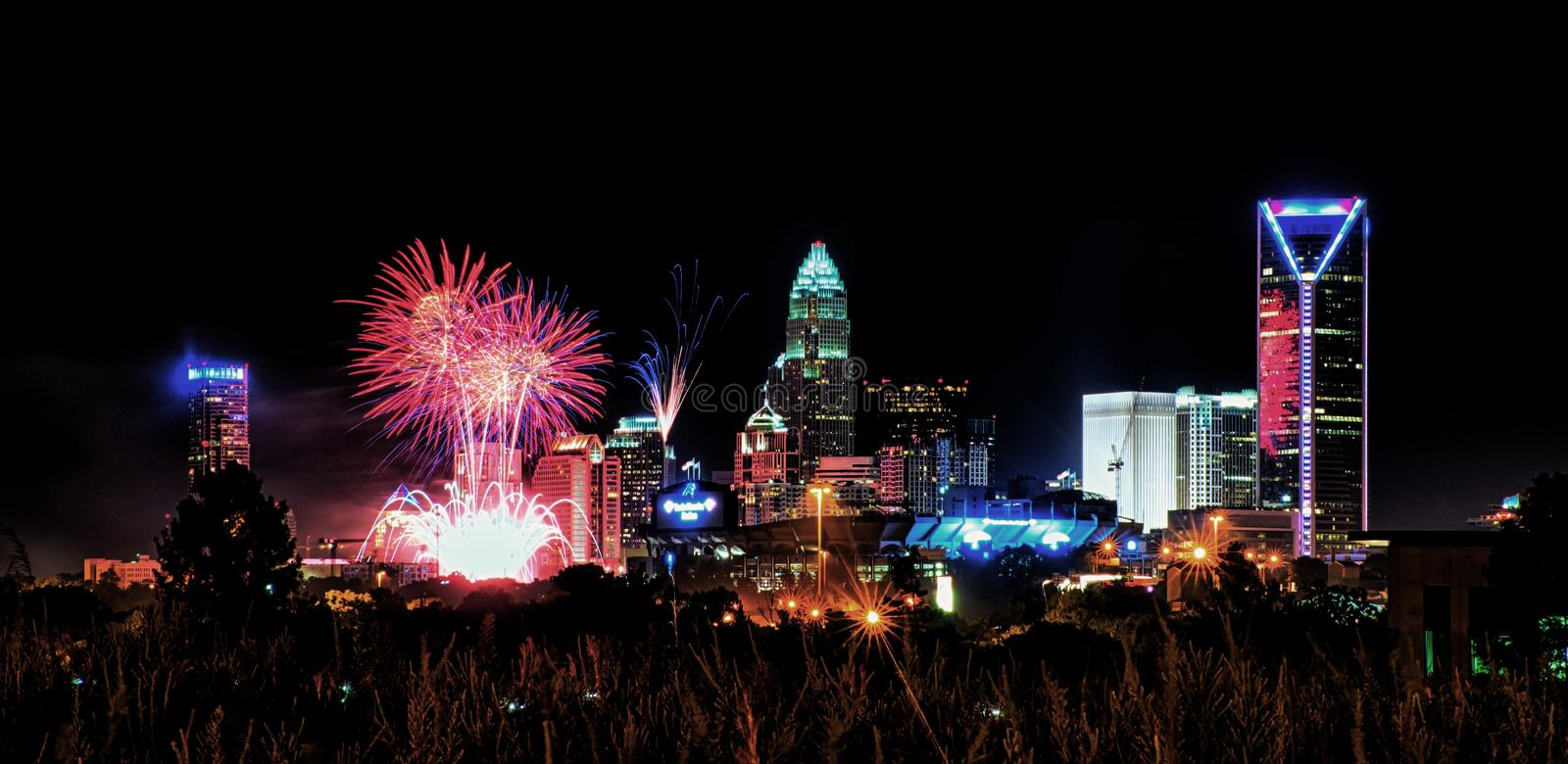 4th of july fireworks skyshow charlotte nc royalty free stock images
