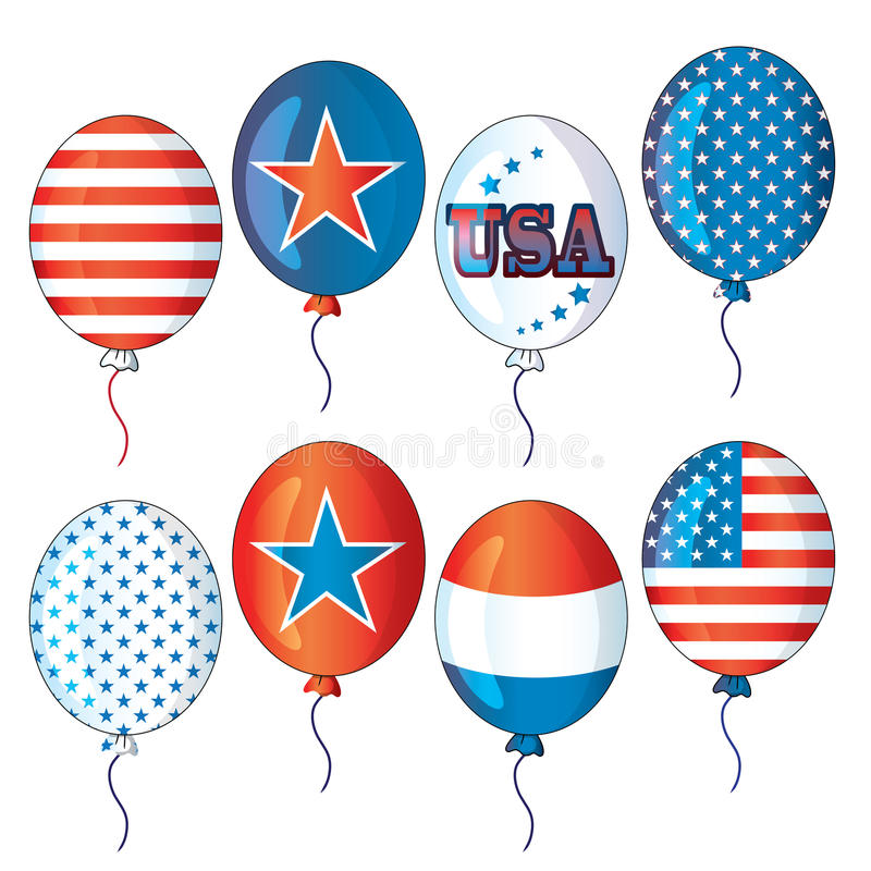 4th of July fourth of July party balloons collection falling balloons vector filey eps ai jpg red white blue balloons air flying royalty free illustration