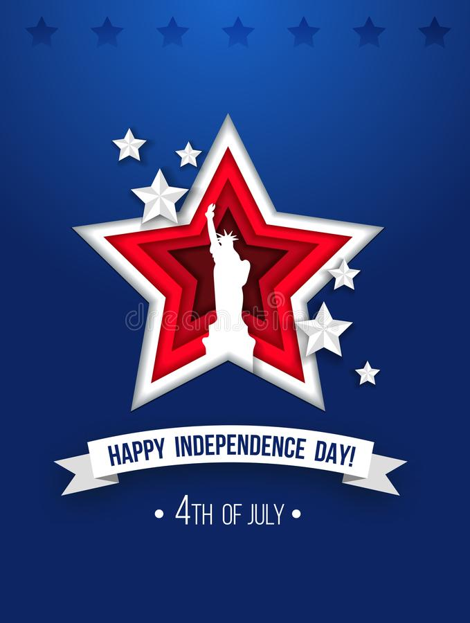 4th of july greeting card with paper cut effects. Paper cut Ind. Ependence day poster with red stars, ribbon and Liberty statue on blue background. Vector vector illustration