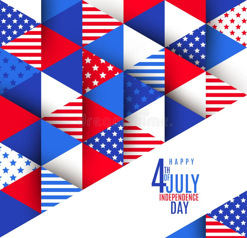 4th of July greeting on a USA patriotic stars and stripes pattern. Greeting card. 4th of July greeting on a USA patriotic stars and stripes pattern. Vector vector illustration
